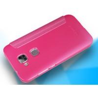 Чехол флип на пластиковой матовой нескользящей основе с окном вызова для Huawei G8 Пурпурный