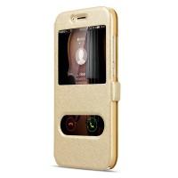 Текстурный чехол флип подставка на пластиковой основе с окном вызова и свайпом для Huawei G8 Бежевый
