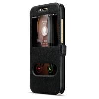 Текстурный чехол флип подставка на пластиковой основе с окном вызова и свайпом для Huawei G8 Черный