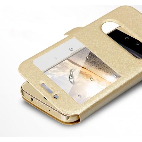 Текстурный чехол флип подставка на пластиковой основе с окном вызова и свайпом для Huawei G8