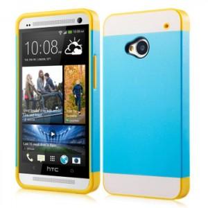 Двуцветный чехол силикон-пластик для HTC One (M7) Dual SIM желт-голуб
