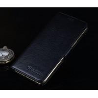 Кожаный чехол портмоне подставка (нат. кожа) с крепежной застежкой для Huawei G8 Черный