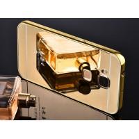 Гибридный металлический двухкомпонентный чехол и поликарбонатной крышкой с зеркальным покрытием для Huawei G8 Бежевый