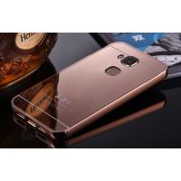 Гибридный металлический двухкомпонентный чехол и поликарбонатной крышкой с зеркальным покрытием для Huawei G8 Розовый
