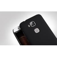 Пластиковый матовый нескользящий премиум чехол для Huawei G8 Черный