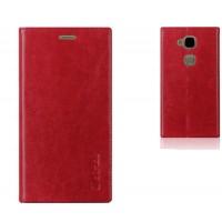 Глянцевый кожаный чехол флип подставка на присоске с отделением для карты для Huawei G8 Красный