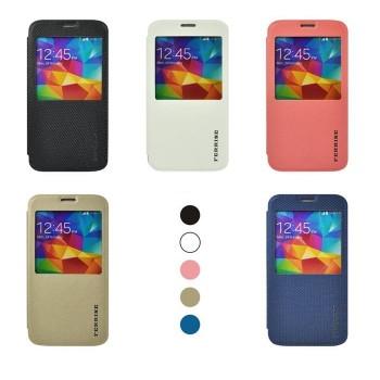 Чехол флип подставка текстурный с окном вызова на силиконовой основе и присоске для Samsung Galaxy S5 Mini