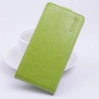 Глянцевый чехол вертикальная книжка на силиконовой основе с магнитной застежкой для Lenovo A5000 Зеленый