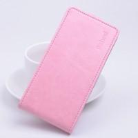 Глянцевый чехол вертикальная книжка на силиконовой основе с магнитной застежкой для Lenovo A5000 Розовый