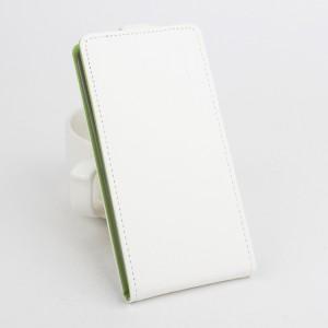 Текстурный чехол вертикальная книжка на силиконовой основе с магнитной застежкой для Lenovo A2010 Белый