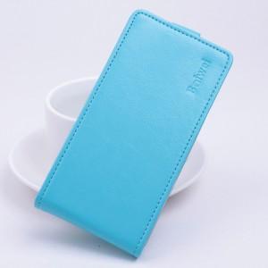 Глянцевый чехол вертикальная книжка на силиконовой основе с магнитной застежкой для Lenovo A2010 Голубой