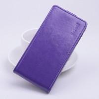 Глянцевый чехол вертикальная книжка на силиконовой основе с магнитной застежкой для Lenovo A2010 Фиолетовый