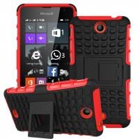 Антиударный силиконовый чехол экстрим защита с подставкой для Microsoft Lumia 430 Dual SIM Красный