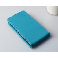 Глянцевый чехол вертикальная книжка на пластиковой основе с магнитной застежкой для Microsoft Lumia 430 Dual SIM Голубой