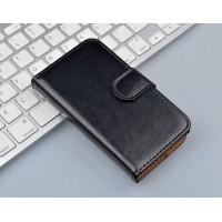 Глянцевый чехол портмоне подставка с защелкой на пластиковой основе для Microsoft Lumia 430 Dual SIM Черный