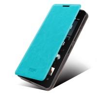 Чехол флип подставка водоотталкивающий на пластиковой основе для Microsoft Lumia 430 Dual SIM Голубой