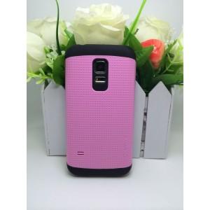 Чехол силикон/поликарбонат экстрим защита с точечной текстурой для Samsung Galaxy S5 Mini Розовый