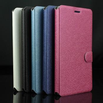 Текстурный чехол флип подставка на пластиковой основе с магнитной застежкой и отделением для карт для Microsoft Lumia 430 Dual SIM