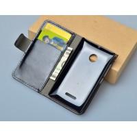 Глянцевый чехол портмоне подставка с защелкой для Microsoft Lumia 532 Черный