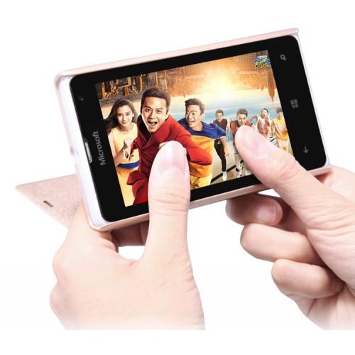 Текстурный чехол флип на пластиковой матовой нескользящей основе для Microsoft Lumia 532
