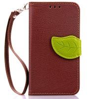 Чехол портмоне подставка на силиконовой основес дизайнерской защёлкой для Nokia Lumia 530 Коричневый