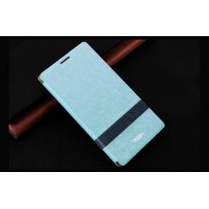 Текстурный чехол флип подставка на пластиковой основе для Nokia Lumia 530 Голубой