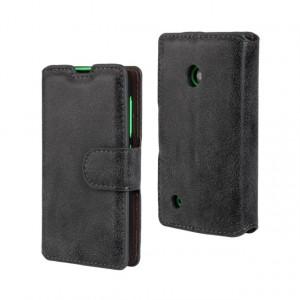 Винтажный чехол портмоне подставка с защелкой для Nokia Lumia 530 Черный