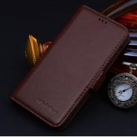 Кожаный чехол портмоне (нат. кожа) для Huawei Ascend Mate 7 Коричневый