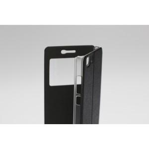 Текстурный чехол флип подставка на пластиковой основе с окном вызова для Doogee X5