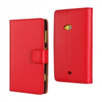 Чехол портмоне подставка на пластиковой основе с магнитной застежкой для Nokia Lumia 625 Красный