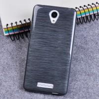 Силиконовый матовый непрозрачный чехол текстура Металл для Xiaomi RedMi Note 2 Черный