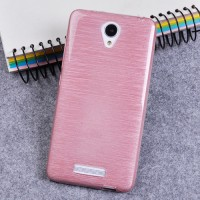 Силиконовый матовый непрозрачный чехол текстура Металл для Xiaomi RedMi Note 2 Розовый