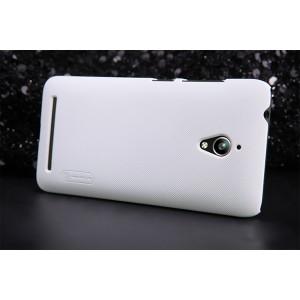 Пластиковый матовый нескользящий премиум чехол для ASUS Zenfone Go Белый