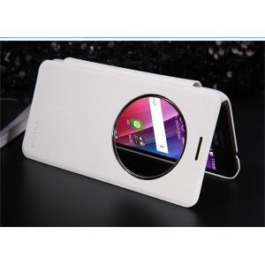 Текстурный чехол смарт флип с фирменным круглым окном вызова на пластиковой нескользящей основе для ASUS Zenfone Go Белый