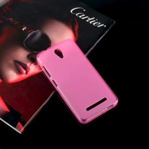 Силиконовый матовый полупрозрачный чехол для ASUS Zenfone Go Розовый
