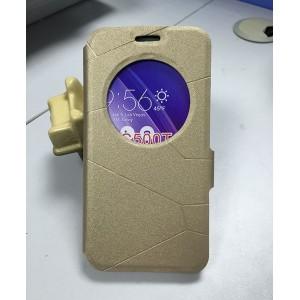 Текстурный чехол флип подставка с круглым окном вызова и магнитной застежкой для ASUS Zenfone Go Бежевый
