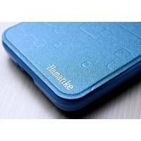 Текстурный чехол флип подставка с круглым окном вызова на силиконовой основе для ASUS Zenfone Go Голубой