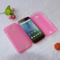 Силиконовый матовый полупрозрачный чехол для Acer Liquid Z530 Розовый