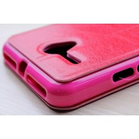 Чехол флип подставка с окном вызова на силиконовой основе для Alcatel One Touch POP 3 5.5 Пурпурный