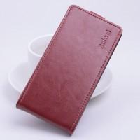 Глянцевый чехол вертикальная книжка на силиконовой основе с магнитной застежкой для Xiaomi RedMi Note 2 Коричневый