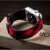Гибридный дизайнерский ремешок нат. кожа/ткань ручной работы с металлическим коннектором для Apple Watch 42мм