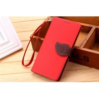 Текстурный чехол портмоне на силиконовой основе с дизайнерской застежкой для Xiaomi RedMi Note 2 Красный