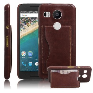 Дизайнерский чехол накладка с отделениями для карт и подставкой для Google LG Nexus 5X Коричневый