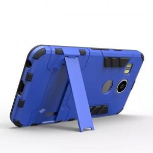 Антиударный гибридный силиконовый чехол с поликарбонатной крышкой и встроенной ножкой-подставкой для Google LG Nexus 5X Синий
