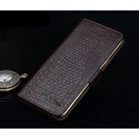 Кожаный чехол портмоне подставка (нат. кожа крокодила) для Lenovo Phab Plus Коричневый
