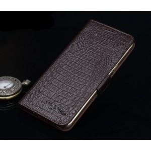 Кожаный чехол портмоне подставка (нат. кожа крокодила) для Lenovo Phab Plus