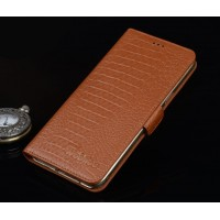 Кожаный чехол портмоне подставка (нат. кожа крокодила) для Lenovo Phab Plus Бежевый
