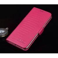Кожаный чехол портмоне подставка (нат. кожа крокодила) для Lenovo Phab Plus Пурпурный