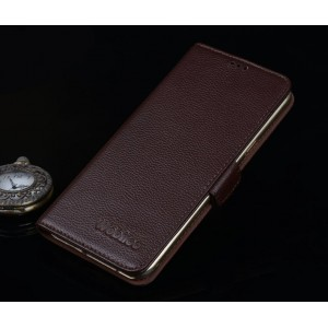 Кожаный чехол портмоне подставка (нат. кожа) для Lenovo Phab Plus Коричневый