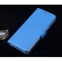Кожаный чехол портмоне подставка (нат. кожа) для Lenovo Phab Plus Голубой